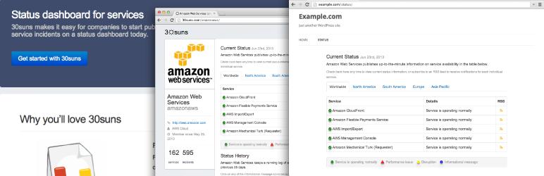 WordPress 30suns Hosted Status Page Plugin Banner Image