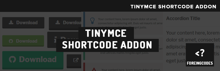 WordPress TinyMCE shortcode Addon Plugin Banner Image