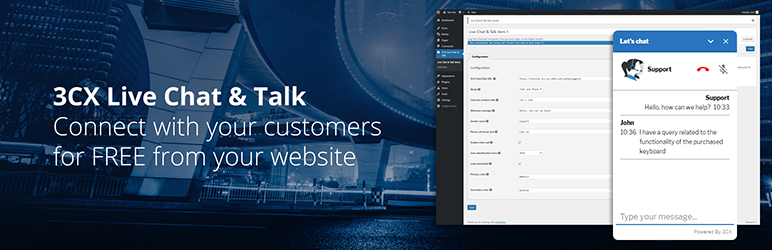 WordPress 3CX Live Chat and Talk Plugin Banner Image