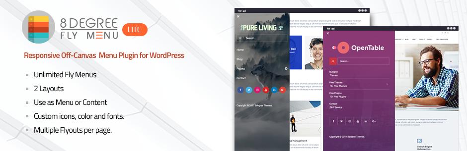 WordPress Free Responsive Off-Canvas Menu Plugin for WordPress – 8Degree Fly Menu Lite Plugin Banner Image