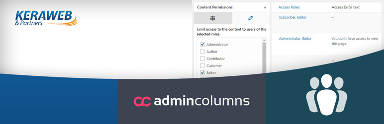 WordPress Admin Columns – Members add-on Plugin Banner Image