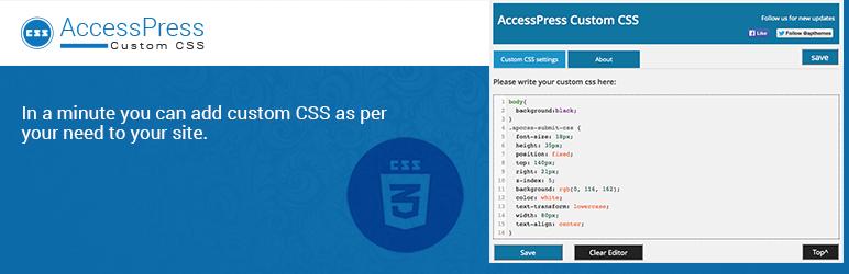 WordPress AccessPress Custom CSS Plugin Banner Image