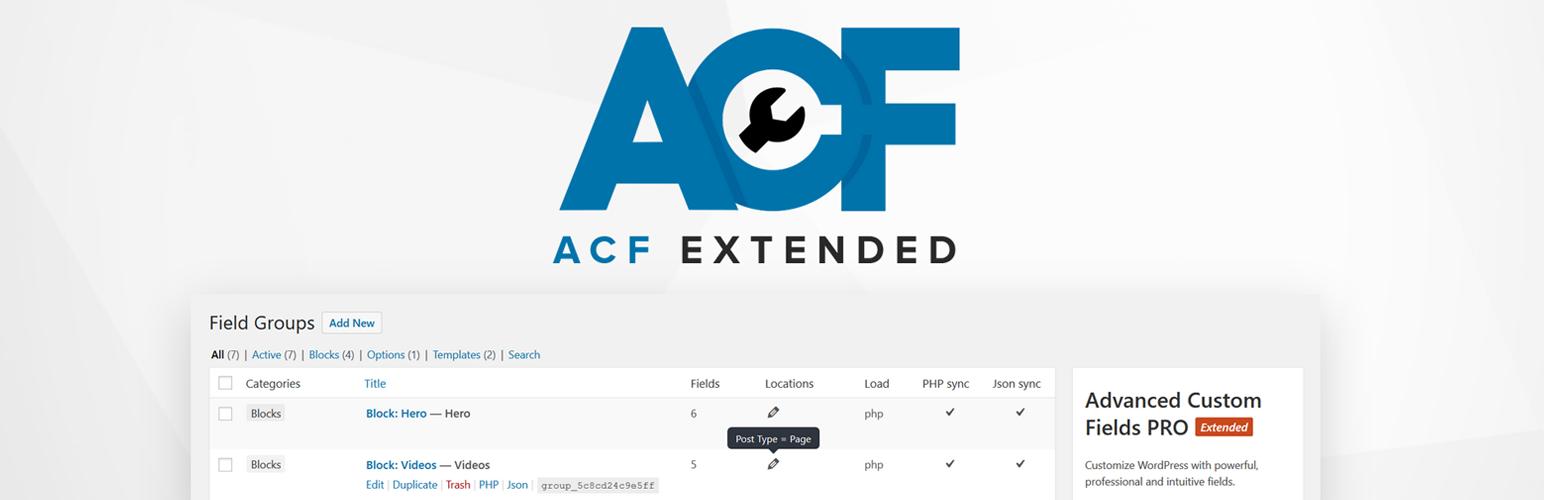 WordPress Advanced Custom Fields: Extended Plugin Banner Image