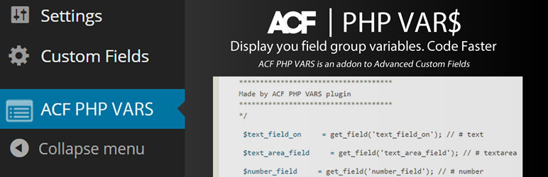 WordPress ACF PHP VARS Plugin Banner Image