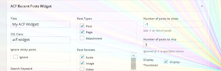 WordPress ACF Recent Posts Widget Plugin Banner Image