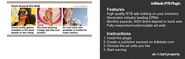 WordPress Adblade Publisher Tools Plugin Banner Image
