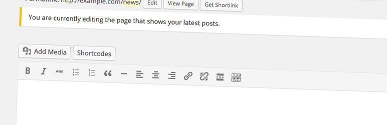 WordPress Add Editor To Page For Posts Plugin Banner Image