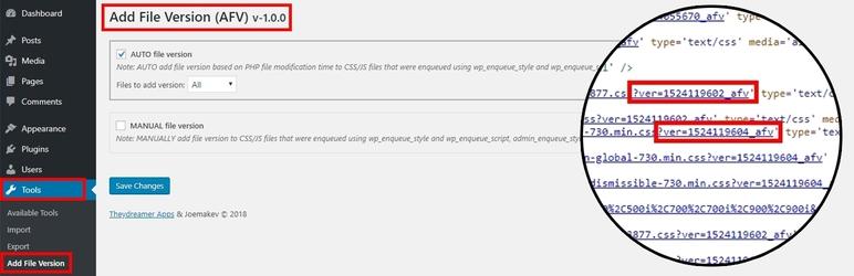 WordPress Add File Version (AFV) Plugin Banner Image