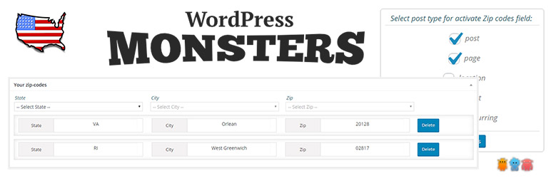 WordPress USA Zip Codes by WP Monsters Plugin Banner Image