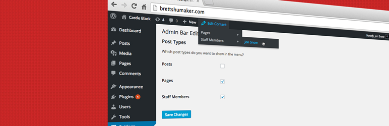 WordPress Admin Bar Edit Content Links Plugin Banner Image