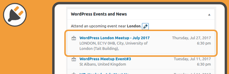 WordPress Admin Events Extended Plugin Banner Image