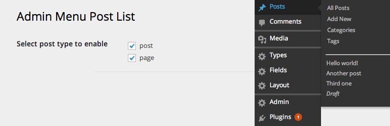 WordPress Admin Menu Post List Plugin Banner Image