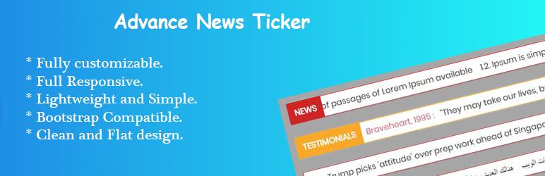 WordPress Advance News Ticker Plugin Banner Image