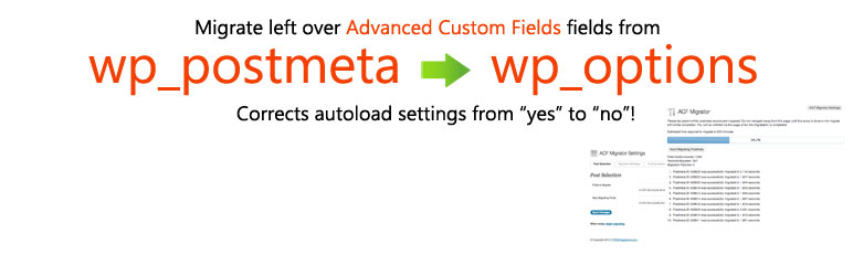 WordPress Advanced Custom Fields Migration Cleanup Plugin Banner Image