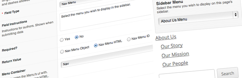 WordPress Advanced Custom Fields: Nav Menu Field Plugin Banner Image