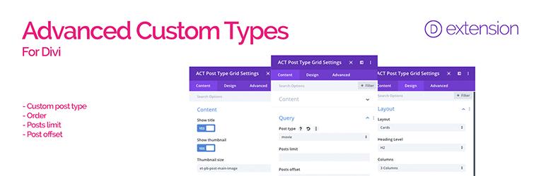 WordPress Divi Advanced Custom Types Plugin Banner Image