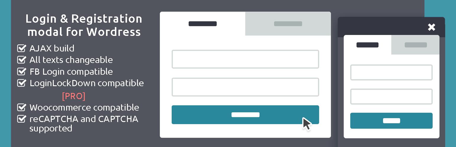 WordPress AJAX Login and Registration modal popup + inline form Plugin Banner Image