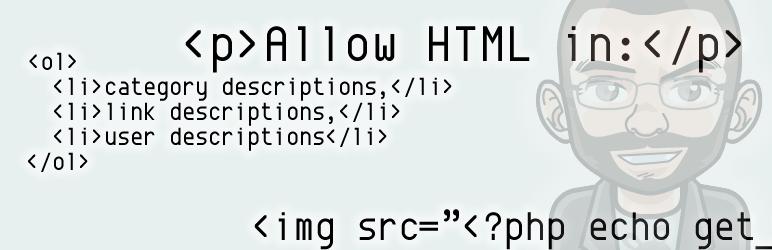 WordPress Allow HTML in Category Descriptions Plugin Banner Image