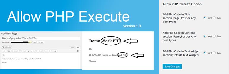 WordPress Allow PHP Execute Plugin Banner Image