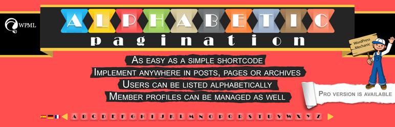 WordPress Alphabetic Pagination Plugin Banner Image