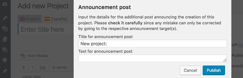 WordPress Announce on Publish Plugin Banner Image