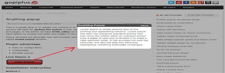 WordPress Anything Popup Plugin Banner Image