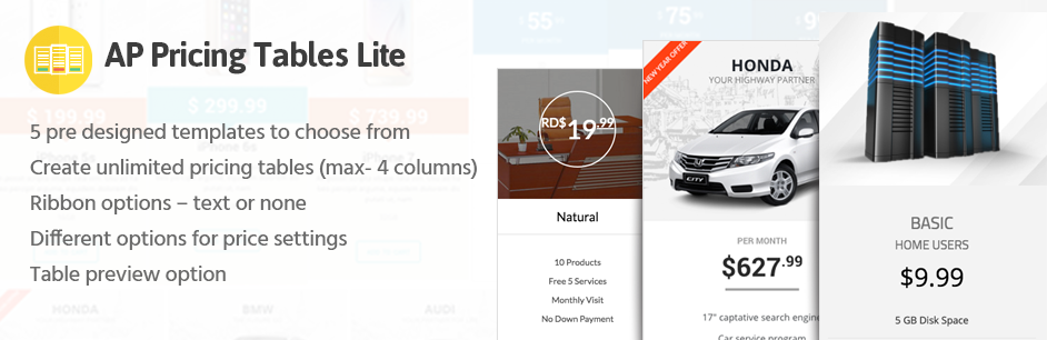 WordPress Pricing Table Builder – AP Pricing Tables Lite Plugin Banner Image