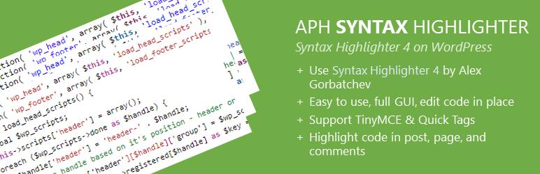 WordPress APH Syntax Highlighter Plugin Banner Image