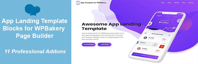 WordPress App Landing Template Blocks for WPBakery (Visual Composer) Page Builder Plugin Banner Image