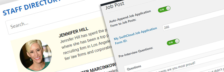 WordPress Job Applicant Tracking & Staff Directory by SwiftCloud Plugin Banner Image