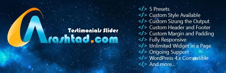 WordPress Arashtad Testimonials Slider Plugin Plugin Banner Image