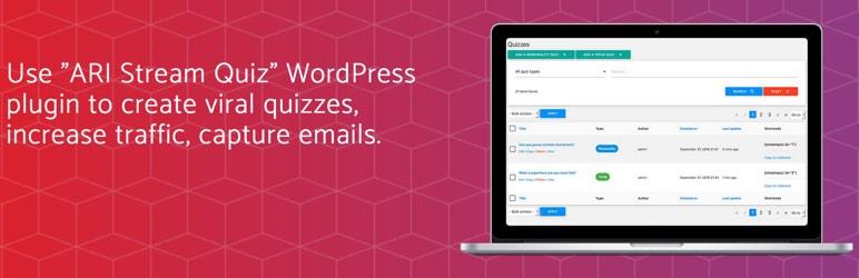 WordPress ARI Stream Quiz – WordPress Quizzes Builder Plugin Banner Image