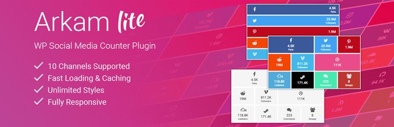 WordPress Social Media Counters for WordPress – Arkam Lite Plugin Banner Image