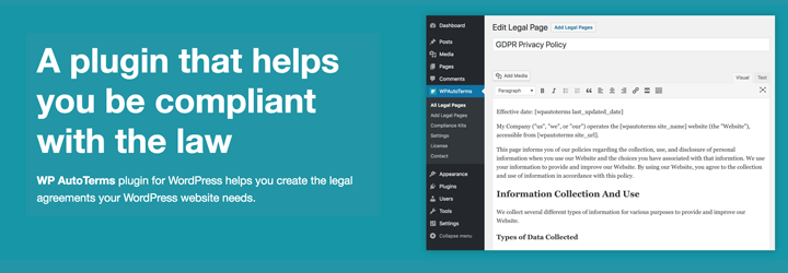 WordPress WP AutoTerms: GDPR Privacy Policy, Cookie Consent Banner, Terms & Conditions Plugin Banner Image