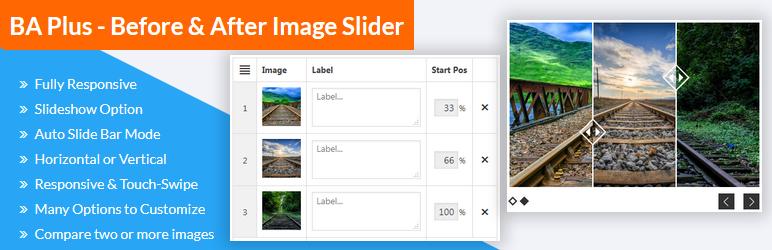 WordPress BA Plus – Before & After Image Slider FREE Plugin Banner Image