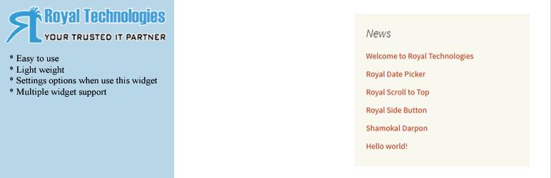 WordPress Royal Recent Posts Widget by Category Plugin Banner Image