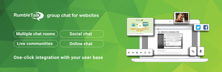 WordPress RumbleTalk Live Group Chat – HTML5 Plugin Banner Image