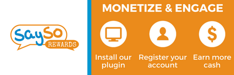 WordPress SaySo Rewards | Monetize & Engage Your Visitors Plugin Banner Image