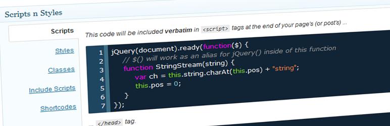WordPress Scripts n Styles Plugin Banner Image