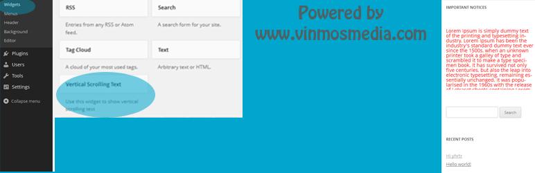 WordPress Scroll Text Widget Plugin Banner Image