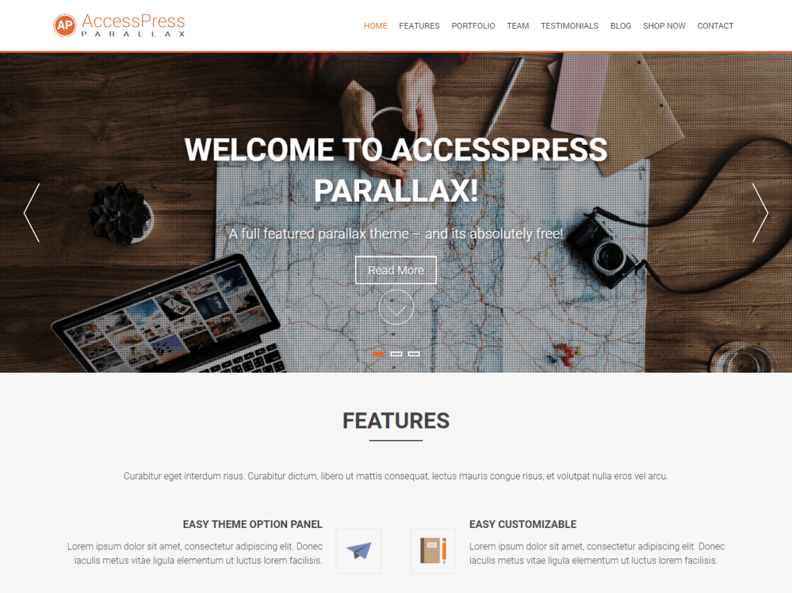 WordPress theme accesspress-parallax