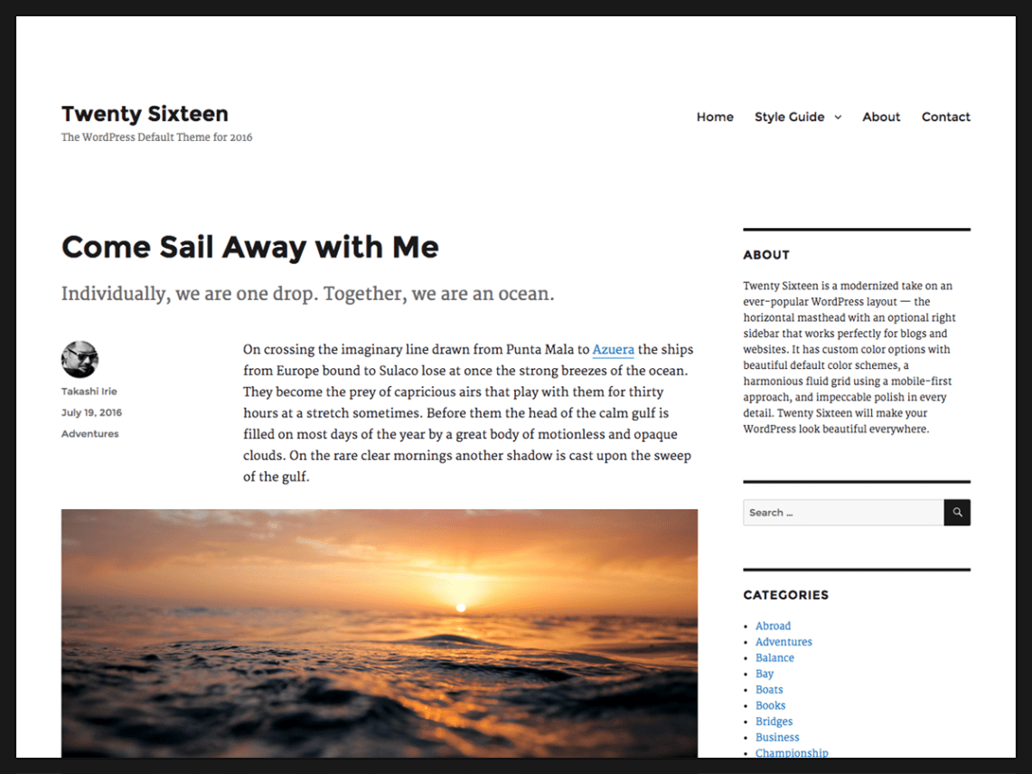 WordPress Theme Twenty Sixteen