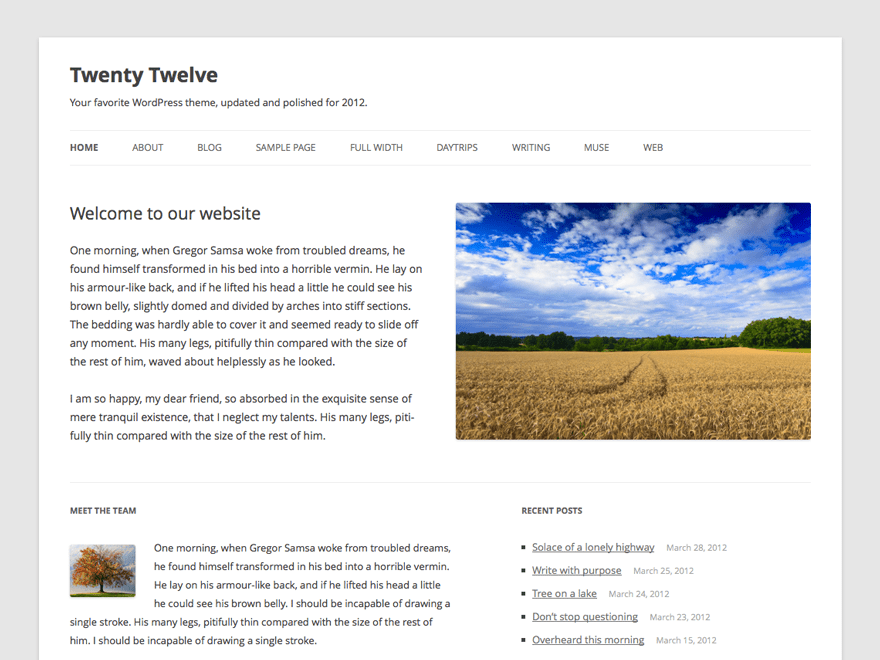 WordPress theme twentytwelve