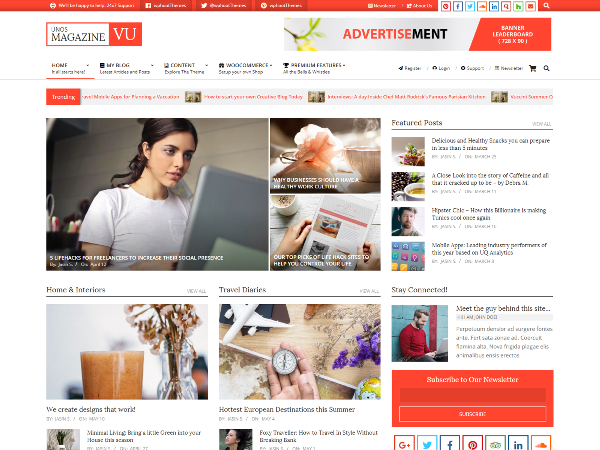 WordPress theme unos-magazine-vu